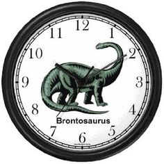 Clock for boys' room?  Amazon.com: Brontosaurus - Green Dinosaur Animal Wall Clock by WatchBuddy Timepieces (Hunter Green Frame): Furniture & Decor