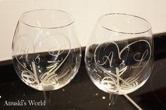 Copas de vino personalizadas para novios - Anuski´s World