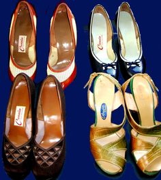 These are examples of 1940s and 1950s women's shoes: we carry a full line of women's men's and children's from 1900 to 1980.