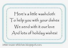 Little Miss Stitcher: Washcloth Gift Idea for Christmas Christmas Tags Printable, Printable Tags, Christmas Gift Tags, Christmas Crafts, Printables, Christmas Ornaments, Knit Dishcloth, Holiday Wishes, Little Miss