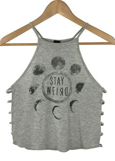 stay weird strappy crop top