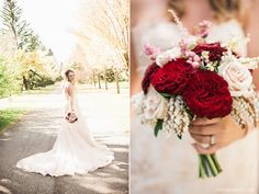 Al Azhar Shine outdoor fall wedding in Calgary, Alberta. The bride held a beautiful bouquet of Hearts garden roses, Quicksand roses, flowering pieris, snowberries  and astilbe. www.flowersbyjanie.com