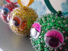images of sequin ornaments   New Leaf Crafts - 'Traffic Light Trio' Sequin Ornament Set