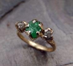 Three raw Stone Diamond Emerald Engagement Ring 14k by byAngeline, $1,195.00