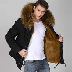 Geval Men's Winter Down Coat Fur Hood Cold Weather Down Jacket ...