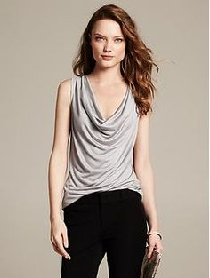 Draped Cowl-Neck Shell - Shirts. I love cowl necks-front or back!!