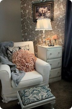 chic baby girl nursery - Great arrangement with the Chair and Ottoman -- love the colors and mixed patterns/textures.