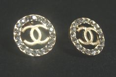 18k Gold Plated Cc Logo Coco Round Rhinestone Open Earrings Price Chanel Inspired From Http