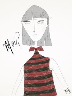 Moi? - 17/04. // #design #bamboopaper #fashion #lob #bow #me #moi #moda #desenho #illustraçao #illustration