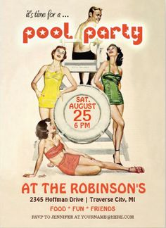 Cute vintage retro #pool_party_invitations easy to customize. Perfect for birthdays and bbqs.