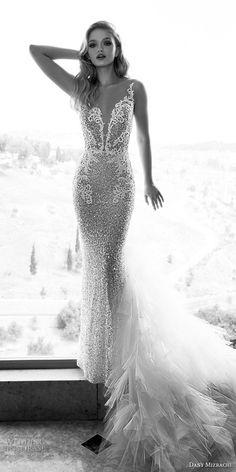 dany mizrachi spring 2018 bridal sleeveless sheer strap deep plunging v neck full embellishment glitter elegant glamorous fit and flare sheath wedding dress medium train (7) mv -- Dany Mizrachi Spring 2018 Wedding Dresses
