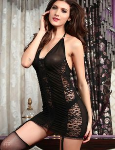 Electric Lace and Mesh Chemise with Garter Black