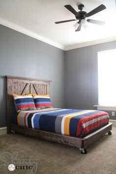 "16 Gorgeous DIY Bed frames • Tutorials, including this  ""DIY platform bed on wheels"" by 'Shanty 2 Chic'!"