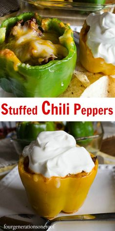 Delicious chili stuffed peppers by Four Generations One Roof Mexican Dishes, Mexican Food Recipes, Beef Recipes, Cooking Recipes, Good Food, Yummy Food, Tasty, Food Tasting, Eating Clean