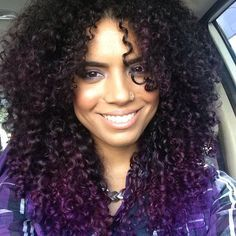 Indira Sanchez purple curly hair. Liking the different tones of purple.