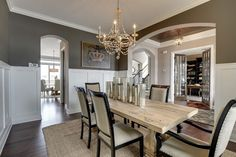Dining Room - Kintyre Model - 2014 Spring Parade of Homes traditional-dining-room Dining Furniture, Home Furniture, Outdoor Light Fixtures, Parade Of Homes, Bedroom Sets, Master Bedroom, Dining Room Design, Sofa Set, Dining Table