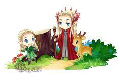 Thranduil and Legolas. Happy New Year by Kagalin Mirkwood Elves, Lotr Elves, Hobbit Art, The Hobbit, Orlando Bloom Legolas, Legolas And Thranduil, Elf Me, Chibi, Fantasy Heroes