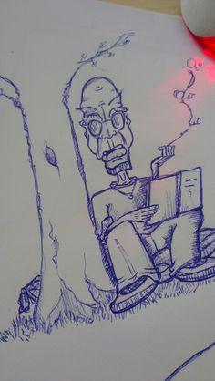 Er sitzt und blickt dich an. Halt ein Buch an einem Baum lehnend in der Hand und genießt den naturlichen Qualm. danach ist er Nichtraucher geworden...Zeichnung: Wingspired 2015