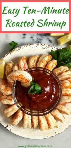 Easy Ten Minute Roasted Shrimp is one of the easiest and most versatile seafood recipes you can make. These Easy Ten Minute Roasted Shrimp are perfect at room temperature, cold or hot for a party appetizer or a holiday appetizer, and they can also be used to makean amazing shrimp cocktail. #shrimpcocktail, #shrimprecipes, #seafoodrecipes, #roastedshrimp via @gritspinecones