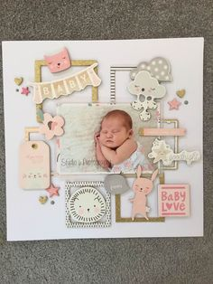 Loving the use of the frames. Scrapbook Images, Scrapbook Layout Sketches, Scrapbook Designs, Scrapbooking Layouts, Baby Girl Scrapbook, Baby Scrapbook Pages, Scrapbook Albums, First Year Baby Book, Baby Book Pages