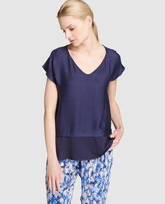 Blusa combinada de mujer Sita Murt en azul marino