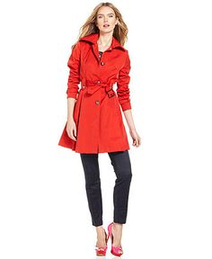 Laundry by Shelli Segal Coat, Belted Pleated Trench - Coats
