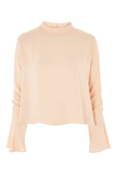 Ruched Sleeve High Neck Blouse - Clothing- Topshop USA