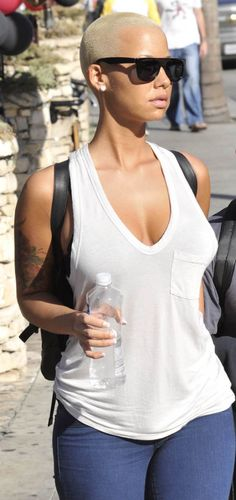 Amber Rose. I always thought this chick rocked that blonde boy cut like no other woman I've ever seen