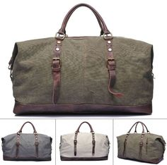 "Rustic Canvas and Leather Duffle Bag  Main Material: Quality canvas duffle accented with genuine leather.  Size: L: 18"" W:8"" H:10"" Interior: Two pouch pockets for smaller devices on the front and on"