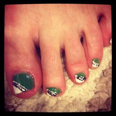 Did my mom's toes. Took my nail art and did a little twist :)