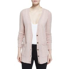 Atm Anthony Thomas Melillo Cashmere V-Neck Donegal Cardigan ($270) ❤ liked on Polyvore featuring tops, cardigans, ginger donegal, long sleeve v neck top, pink cardigan, long sleeve v neck cardigan, long sleeve tops and cashmere v neck cardigan