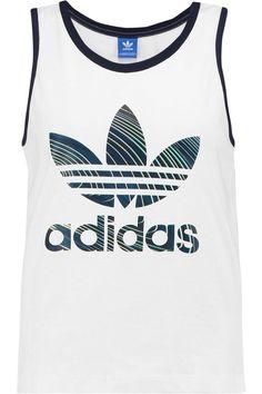 941d8686 ADIDAS originals Printed cotton tank Size UK 10 white ladies top casual gym  #adidas