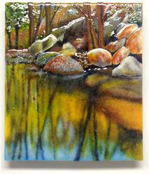 Remembered Spaces - Deep Water Anne Nye Glass Kiln fired art glass, painted with glass powders and fired