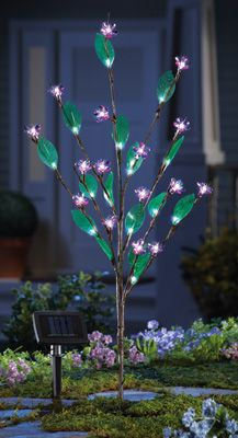Pink Solar Flowers Lighted Garden Stake
