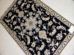 格安ペルシャ絨毯の玄関マットシックな紺55102、安いペルシャ絨毯ナイン