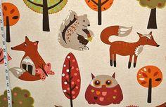 Scandinavian fabric retro fabric owl  fabric door BrickHouseFabrics