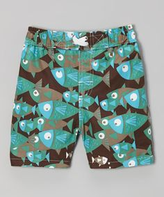 Look what I found on #zulily! Brown School of Fish Swim Trunks - Infant, Toddler & Boys #zulilyfinds