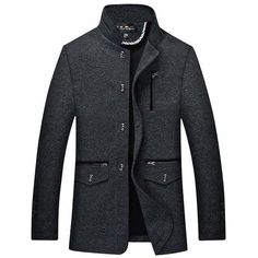 Autumn Winter Casual Business Multi-Pockets Woolen Overcoat For Men - Gchoic.com