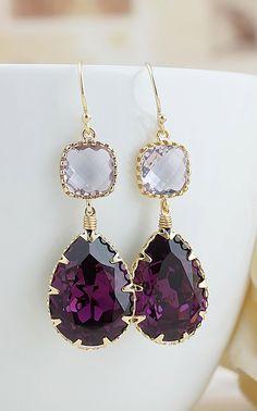 Amethyst Swarovski Crystal Earrings From EarringsNation Amethyst Weddings Eggplant Weddings