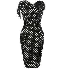 Graceful V-Neck Polka Dot Slit Bodycon Dress ($40) ❤ liked on Polyvore featuring dresses, v neck slit dress, body con dress, fitted formal dresses, bodycon dress and slit dress
