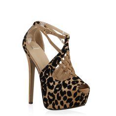 Perfekt für die nächste Party - Sky Heels im Leoparden-Look mit 16 cm Absatz von stiefelparadies.de
