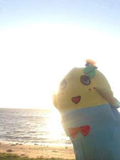 Funassyi on beach.  ふなっしー