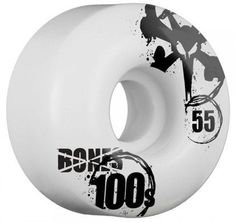Bones 100's OG Skateboard Wheels - white (100a) 54mm by Bones. $19.95. Bones 100's Formula is an evolution of the white, MDI urethane we pioneered in 1977. This family of urethanes has grown to become an industry standard, and because we develop our own formulas in-house, we have been able to keep the Bones 100 formula continuously ahead of all other MDI based wheels in rebound and abrasion.  This provides skaters with the very highest in performance at a price po...