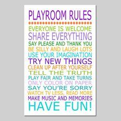 Playroom Rules  11x17 Quote Print  Modern Nursery by Tessyla, $28.00