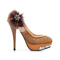 Beautiful High Heel Shoes  Platform PU Rhinestone Fashion Pumps-Heels-Fashion Shoes
