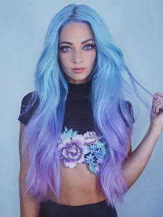 Blue Purple Hair, Pastel Blue Hair, Dyed Hair Blue, Hair Color Blue, Bright Hair, Light Purple Hair Dye, Pastel Hair Colors, Lavender Hair Dye, Lilac Hair
