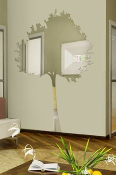 Wall Decals  Reflective Skinny Tree Mirror, Small, Trunk, Leaves, Branch-WALLTAT.com Art Without Boundaries