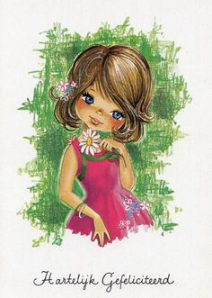 Vintage Postcard 70's adorable big eyed girl