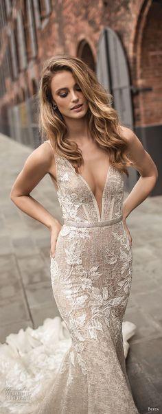 berta spring 2018 bridal sleeveless deep plunging v neckline full embellishment sexy elegant fit and flare wedding dress open low back chapel train (7) zv -- Berta Spring 2018 Wedding Dresses