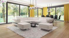 gotowy projekt domu Z378 – aranżacja wnętrz, Parterowy dom z garażem dwustanowiskowym. Casa Top, Outdoor Furniture Sets, Outdoor Decor, Modern House Design, New Homes, Couch, Home Decor, Plush, Cooking